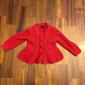 Baby Gap Red Cable Knit Sweater